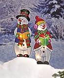 Set of 2 Lighted Holographic Whimsical Snowman Caroler Christmas Yard Decor Seasonal Festive Outdoor Lawn Decoration Display