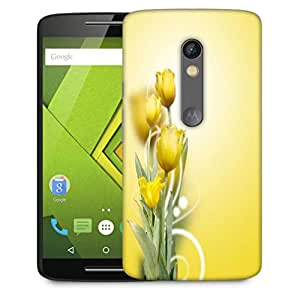 Snoogg Beautiful Yellow Tulips Background Designer Protective Phone Back Case Cover For Motorola Moto X Play