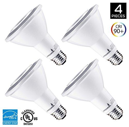 Hyperikon PAR30 LED Bulb, 12W (65W equivalent), 920lm, 4000K (Daylight Glow), CRI90+ Flood Light Bulb, 40° Beam Angle, Medium Base (E26), Dimmable, UL and ENERGY STAR - (Pack of 4) (70w Led Bulb compare prices)
