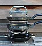 UHGOODS Height Adjustable Pan Organizer Rack, Pot Rack, Pot Lid Holder, Sturdy Stainless Steel with Chrome Finish