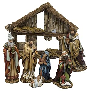 Kurt Adler C7104 6-Inch 7-Piece Resin Nativity Set with Stable and 6 Figures by Kurt Adler