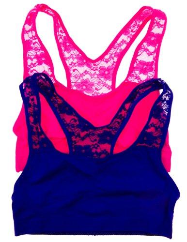 2 Pack: Racerback Lace Back Comfort Bra Unpadded Nylon Elastane Pack (Large/X-Large, R.Purp/N.Pink)