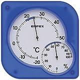 EMPEX(エンペックス) シュクレmidi温・湿度計 温度表示 湿度表示 置き掛け兼用 クリアブルー TM-5606