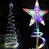 UNITECH INC. 5 ft Clear LED Lighted Spiral Christmas Tree Multi-Color