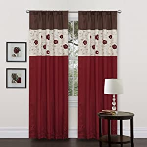 Lush Decor Royal Embrace Curtain Panel, 84-Inch by 42-Inch, Red