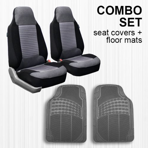FH GROUP FH-FB107102 + V16404FRONT: Gray Modern Flat Cloth Bucket Seat Covers and Gray Vinyl Front Floor Mats (Tall Bucket Seat Covers compare prices)