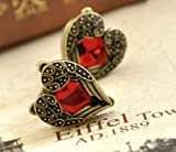 Lingstar(TM) Retro Bronze Red Heart Earrings Vintage Palace Angel Wings A pair