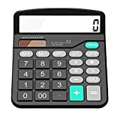 Everplus Calculator, Everplus Electronic Desktop Calculator with 12 Digit Large Display, Solar Battery LCD Display Office Calculator,Black (Color: Black, Tamaño: 5.5 x 4.6 x 1.5 inches)