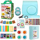9 in 1 Fujifilm Instax Mini 9 8 Instant Camera Ice Blue Accessories Bundle - Fujifilm INSTAX Mini Instant Film Twin Pack 20 Shoots - Blue Case, Selfie Lens, Colored Filters, Frames, Stickers and More (Color: Ice Blue)