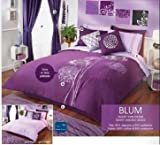 Special Collection Purple Elegance Decorative 'Blum' Complete Double Sided Duvet and Sheet Set with Accessories (King) 17 pieces Best Quality Good Design Fantastic Colors Imported Percale 50% Cotton 50% Polyester