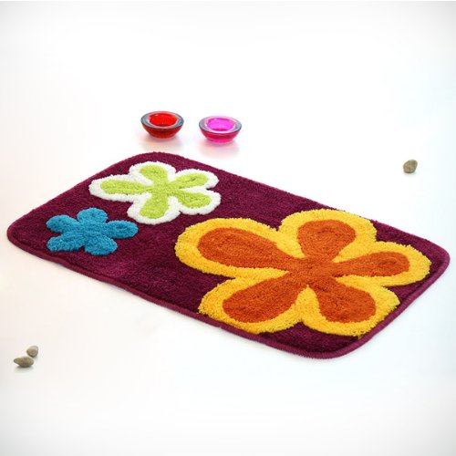 Naomi - [Dancing Flowers - Violet Red] Kids Room Rugs (19.7 by 31.5 inches)