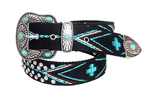 Montana West Womens Woven Belt Aztec Collection Turquoise Stone Conchos, Medium