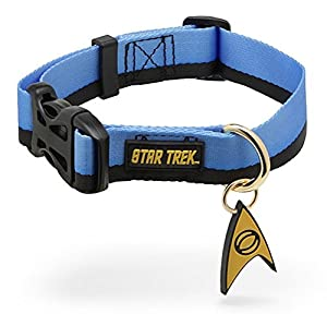 Star Trek Blue Logo Dog Pet Nylon Collar With Science PVC Insignia Medium Size