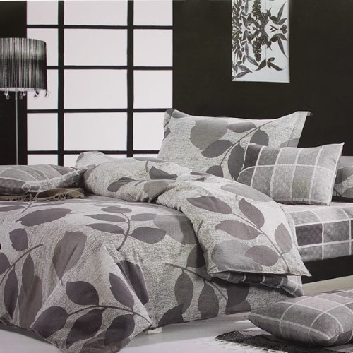 Blancho Bedding - [Elm Leaf] 100% Cotton 4PC Comforter Cover/Duvet Cover Combo (King Size)