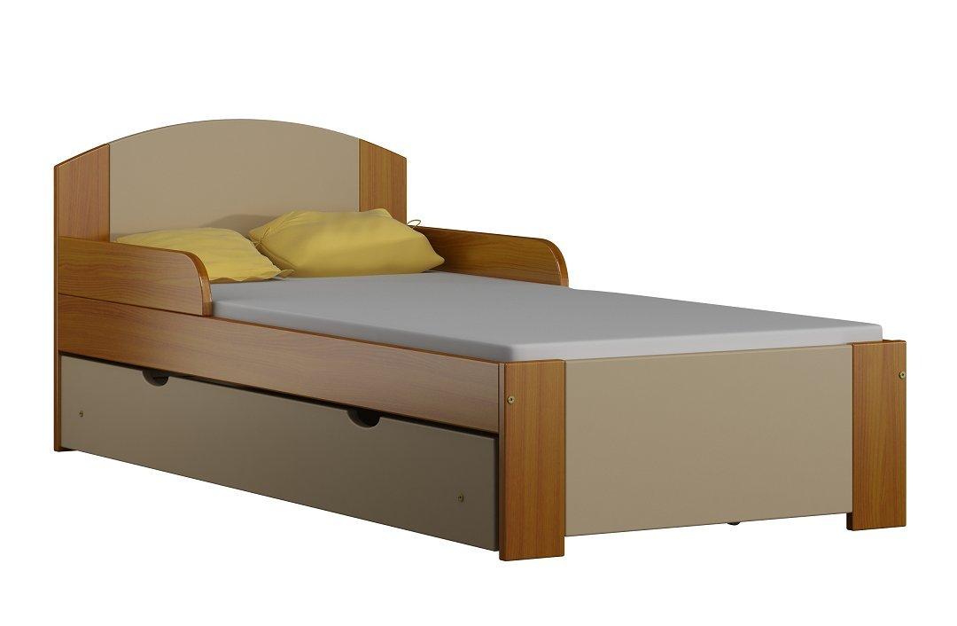 Kinderbett BILI S Massivholz, inkl.Kokosmatratze, Lattenrost und Schublade (160x70cm)