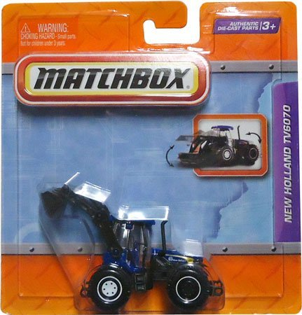 "2011 Matchbox 4"" Real Working Rigs Die-Cast, (Blue) New Holland Tv6070 (Bidirectional Tractor) front-807322"