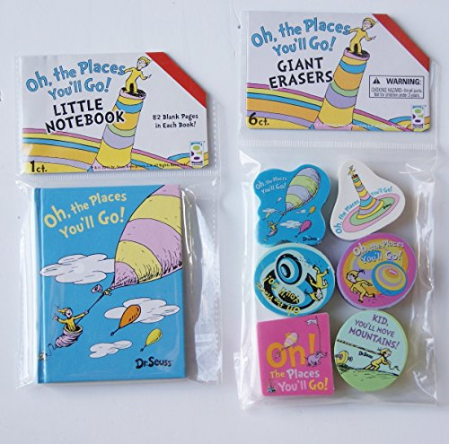 "Dr. Seuss ""Oh, the Places You'll Go!"" School Supply Set - Notebook and Erasers"