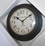 Wall Kitchen Clock - Dark Brown Victoria Station London Design 20cm