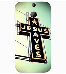ColourCraft Jesus Cross Design Back Case Cover for HTC ONE M8