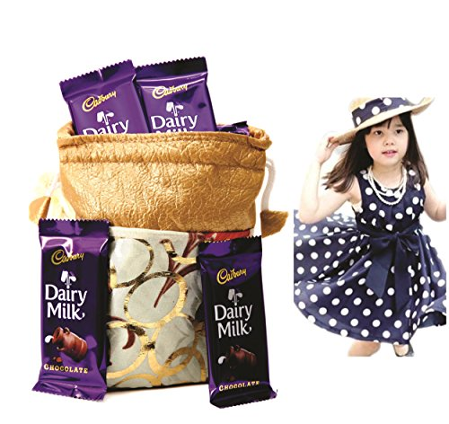 Cadbury Dairy Milk & Skylofts Chocolates Gift Pouch ( 8pcs) With Polka Dress For Girls (5-6years) Rakhi Gift