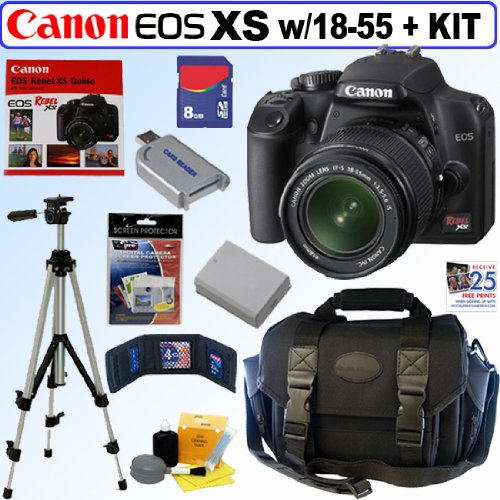 Canon EOS Rebel XS - Digital camera - SLR - 10.1 Mpix - Canon EF-S 18-55mm IS lens - optical zoom: 3 x - supported memory: SD, SDHC - black