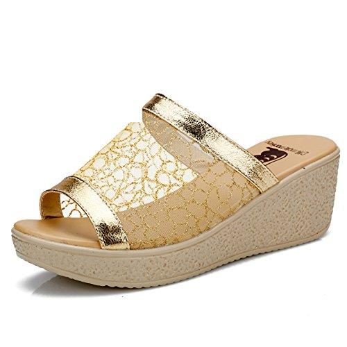 Mesh pantoufles/Lady avec chaussons à semelle épaisse/Plateforme sandales de coins
