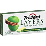 Trident Layers Gum, Green Apple + Golden Pineapple, 14-Piece Packs (Pack of 12)