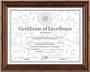 DAX N1818N3T Antique Colored Document Frame with Certificate, Metal, 8-1/2 x 11 Inches, Bronze