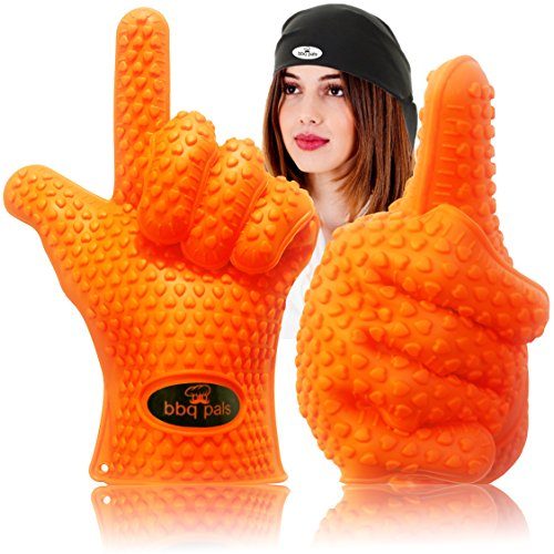 Grilling Gloves Pot Holders With Bonus Chef's Bandana - Silicone Cooking Gloves Heat Resistant Oven Mitts - Best Barbeque and Kitchen Grill Accessories - For All Barbecue Tool Sets by BBQ Pals™ (Chef Disposable Gloves compare prices)