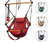 Hammock Hanging Chair Air Deluxe Sky Swing Outdoor/Indoor Chair Solid Wood 250lb (Red)