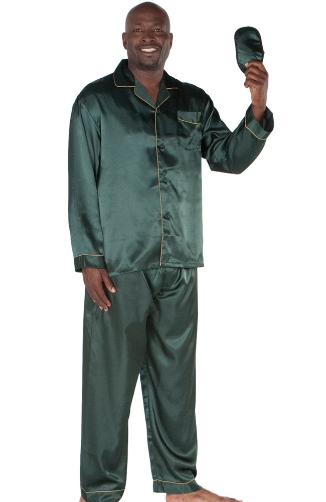 Del Rossa Classic Satin Pajama Set and Sleep Mask, Green Large ($39.99)