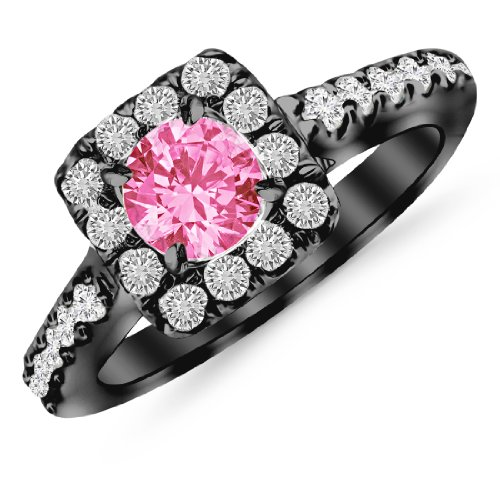 Black Gold Square Halo 1.06 Carat 14K Diamond Engagement Ring with a 0.5 Carat Natural Pink Sapphire Center