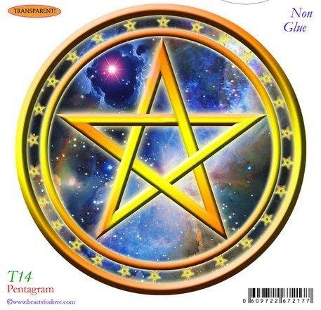 Pentagram Static Cling Window Stickers