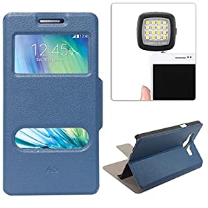 DMG Sview Call Case Vip for Samsung Galaxy A5 (Blue) + 3.5mm Continuous LED Spotlight Flash