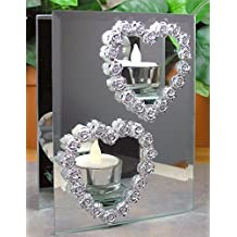 Heart And Roses Candle Holder - Glass And Mirror Candle Holder With 2 Cut Out Hearts - Silver Roses Outline The...