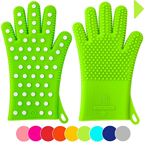 Holiday Sale! Heavy-Duty Women's Silicone Oven Mitts - Designed For Her, 2 Sizes - Great Christmas Gift for Mom - Gloves are Heat Resistant for Cooking, Grilling & Barbecue (1 Pair XS/S, Lime Green) (Extra Small Oven Mitt compare prices)