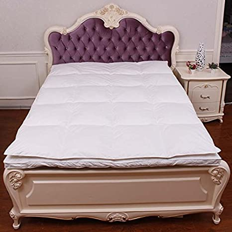 Rose Plumes Luxueux 90% duvet d'oie blanc + matelas 95% plumes d'oie de double couche, souple, ferme, double simple complet double Queen King Size, Tissu, Blanc, King 180x200cm (70x80inch)