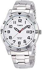 Timex Classic Men's Quartz Watch with White Dial Analogue Display and Silver Stainless Steel Bracelet - TW2P61400