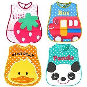 Dehang - (4 Pcs EVA+PE) Baberos Impermeables con Bolsillo Velcro Dibujos para Bebés niños niñas - Estilo aleatorio - BebeHogar.com