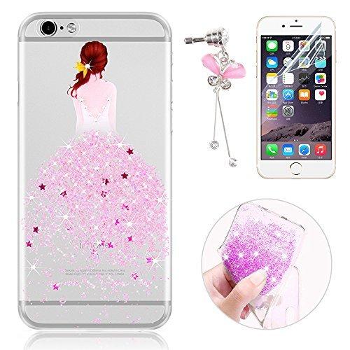 Sunroyal® Custodia iPhone 6 Silicone, Case Cover per iPhone 6s in TPU Silicone, Ultra sottile Trasparente Morbido Glitter Bling Case Cover iPhone 6 / 6S 4.7 pollici, Rosa