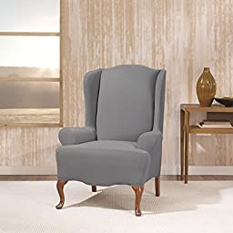 Single Piece Storm Blue Wingback Chair Slipcover, Solid Pattern, Form Fitting Style, Polyester Spandex Fabric Material, Gorgeous Quality, Reupholstered Look, Machine Washable, Medium Grey