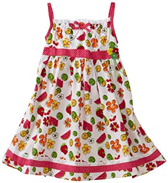So La Vita Little Girls' Toddler Fruit Print Dress, Pink, 3T