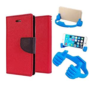 Aart Fancy Diary Card Wallet Flip Case Back Cover For LG G2 - (Red) + Flexible Portable Mount Cradle Thumb Ok Stand Holder By Aart store