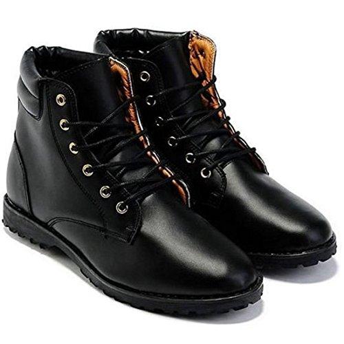 jeansian Moda Casuale Pelle Scarpe Inverno Stivali Scarpe da Uomo Boots Black 7 US SHB029