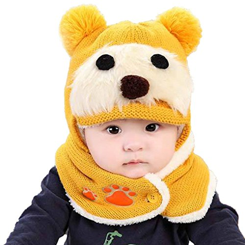 TAORE Baby Boy Girl Infant Winter Earflap Knitted Warm Cap Hat (Yellow)