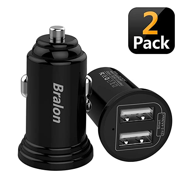 Car Charger, Bralon 2-Pack 3.4A 18W Mini 2 USB Smart Car Charger Adapter Compatible for iPhone 8/X/7/6/5, HTC, LG, Moto, BlackBerry, Galaxy S9/S8/S7/S