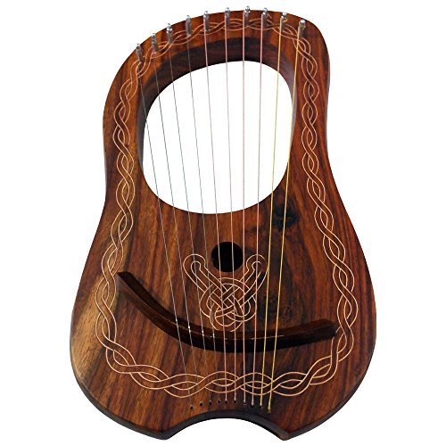 brand-new-lyre-harp-10-string-rose-wood-with-carrying-case-tuning-key
