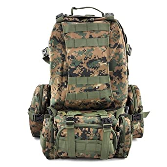 tinxs 50L 3 Day Assault Tactical Military Outdoor Sport Rucksacks Backpack Camping Trekking Hiking Bag Rucksack - Diffterent Colour Design for Choice Available ! (D-jungle)