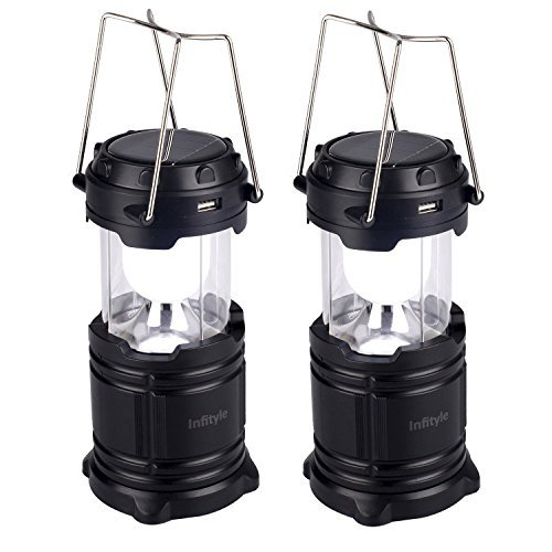 Camping Lantern - LED Solar Rechargeable Camp Light Flashlights - Emergency Lamp - Power Bank for Android Cell Phone IOS Iphone - 2 Pack Black (Bush Up Bar compare prices)
