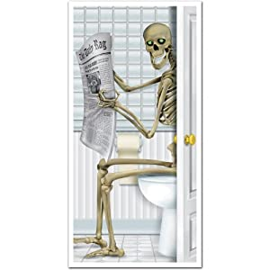 Skeleton Restroom Door Cover Party Accessory (1 count) (1/Pkg)